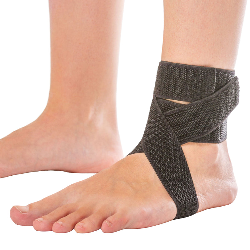 BraceAbility plantar fasciitis day ankle brace has a heel strap that helps to relieve arch pain and peroneal tendonitis