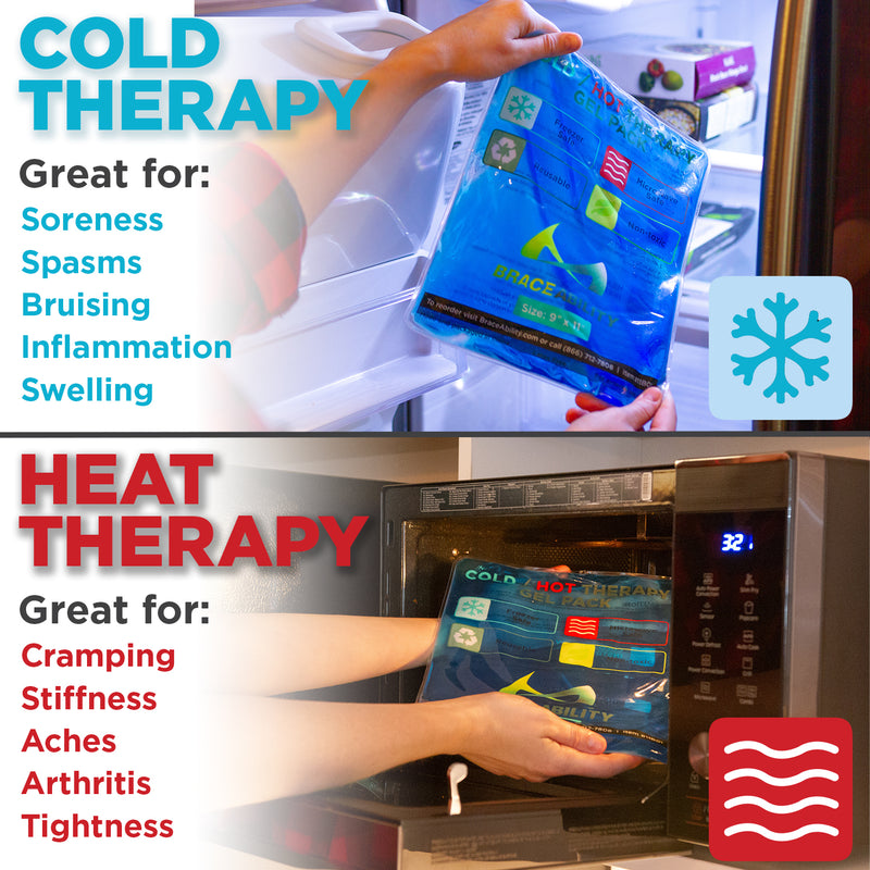 use cold therapy for soreness and brusing, heat therapy for cramping and stiffness