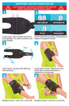 the instruction sheet for the cubital tunnel brace shows wrapping the wide straps around your arm