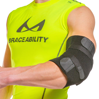 The cubital tunnel syndrome brace by BraceAbility helps treat ulnar nerve entrapment relieving elbow pain
