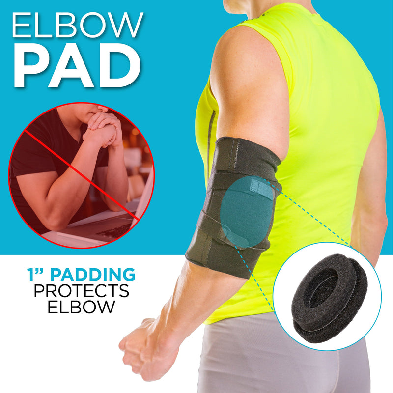 the ulnar nerve pad in our cubital tunnel syndrome brace helps prevent future injury by protecting the nerve