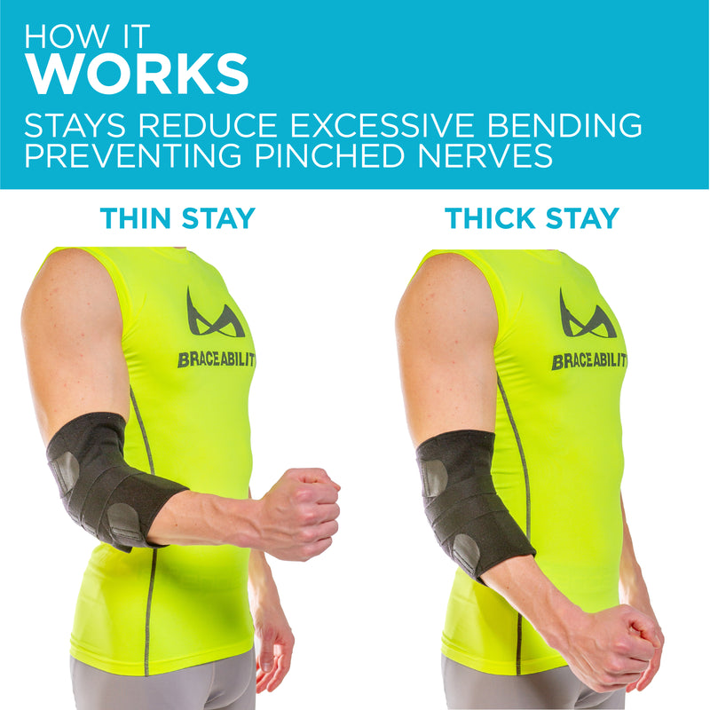 Our ulnar nerve entrapment treatment brace has two removable stays for adjustable support levels