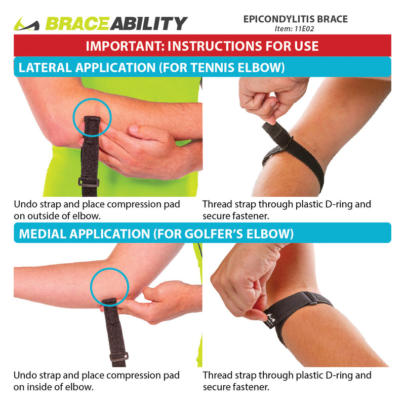 instruction sheet for how to put on the epicondylitis elbow brace