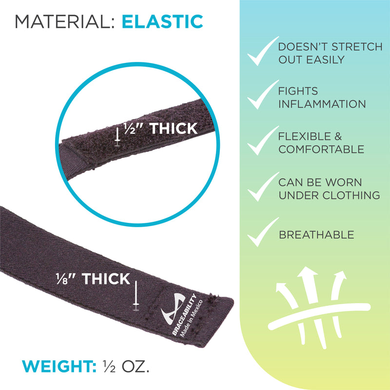 The epicondylitis elbow brace has a one half inch thick compression pad and ultra thin elastic strap