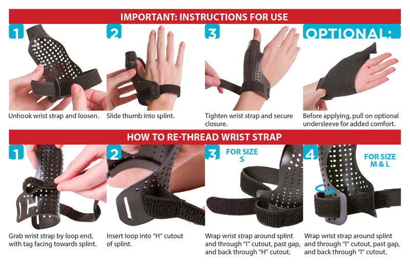 How to put on the hard thumb splint instruction sheet