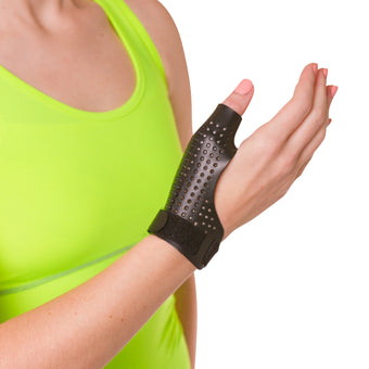 Hard thumb splint for arthritis immobilizes the base of your thumb
