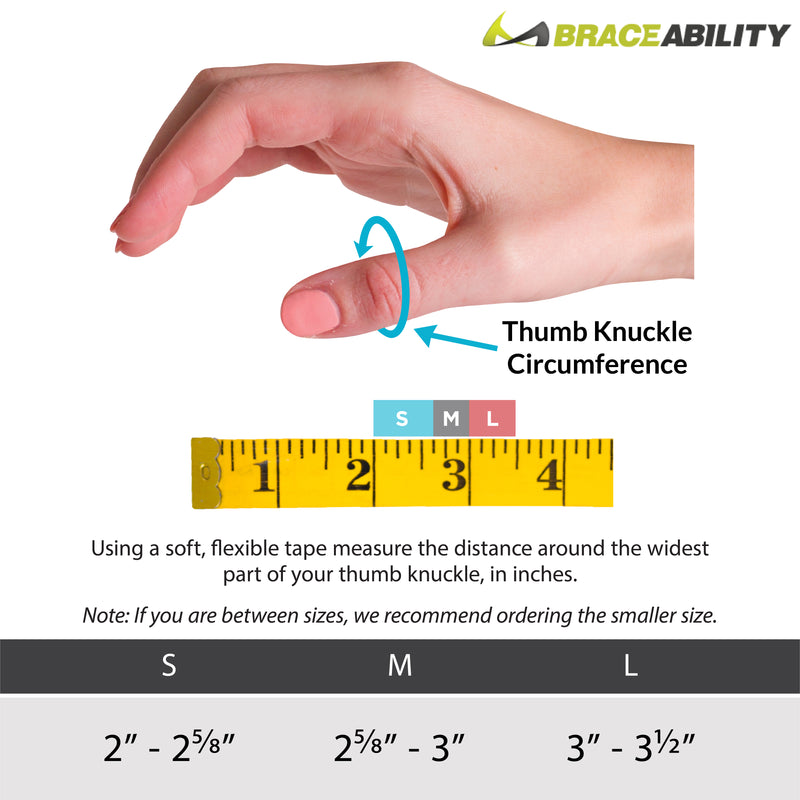 The sizing chart for the hard thumb arthritis brace - measure the circumference around your thumb knuckle. S fits 2