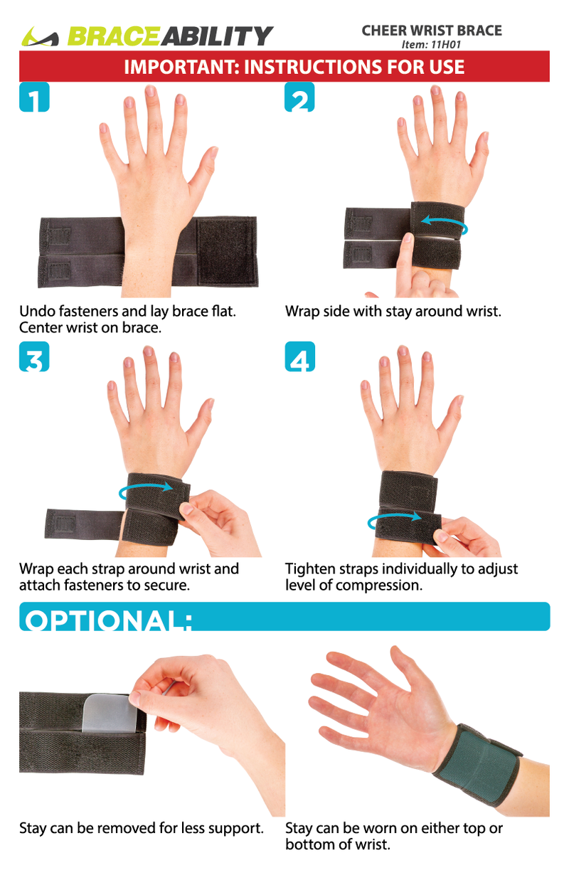 using the instruction sheet, put on the cheer wrist brace by simply wrapping it around you affected wrist