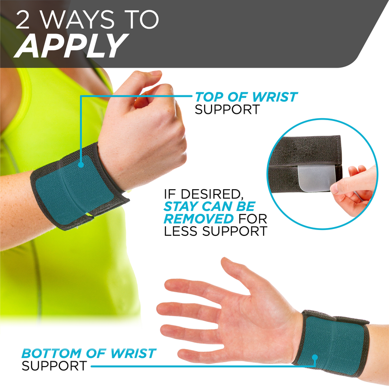 The sports wrist brace can be adjusted to have the removable stay on top of the wrist or on the palm side for support