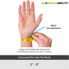 The sizing chart for the universal wrist support fits gymnasts and cheerleaders with wrist circumferences for 5 to 9 inches