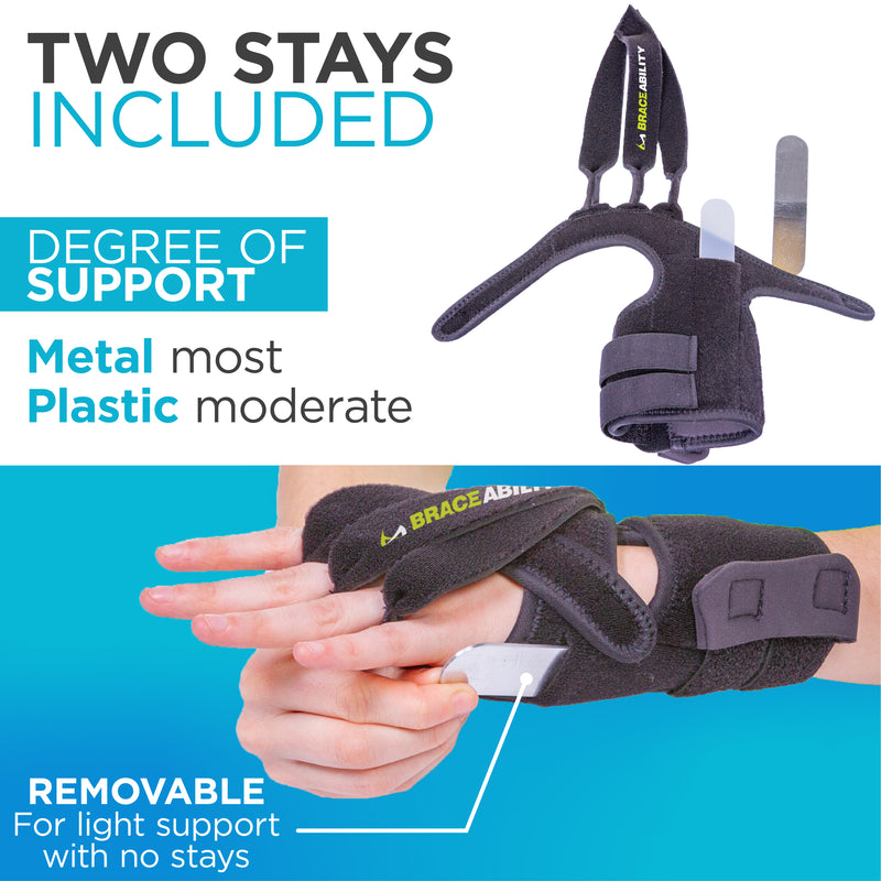 Our hand splints for arthritis includes two stays to help reduce ulnar deviation of wrist