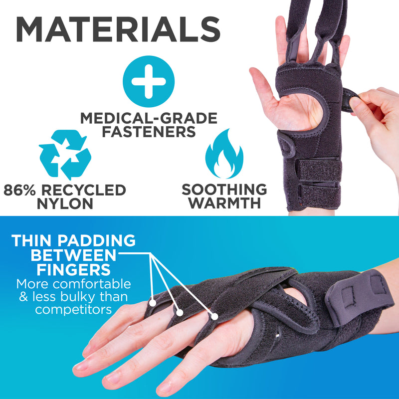 Soothing warmth and thin padding between fingers make the ulnar deviation splint more comfortable than competitors