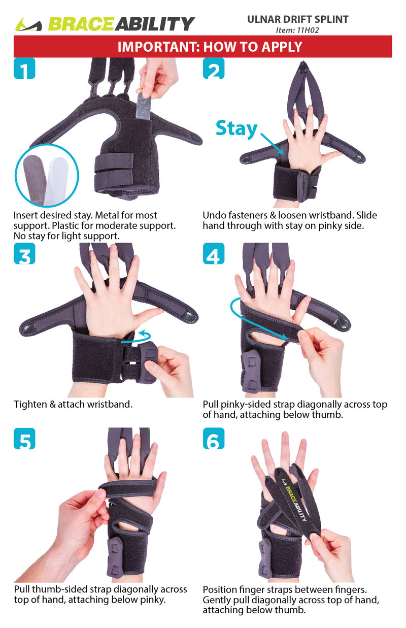 the instruction sheet for the ulnar drift splint is easy to apply with a wrist band and three straps