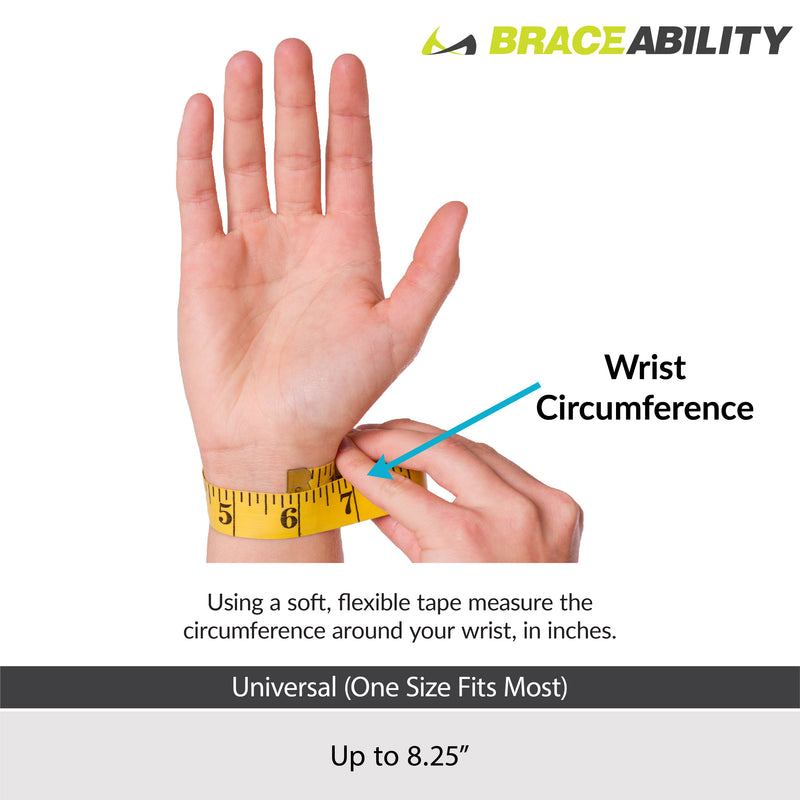 The BraceAbility ulnar deviation splint comes in one universal size fitting wrists up to 8.25 inches based on the sizing chart