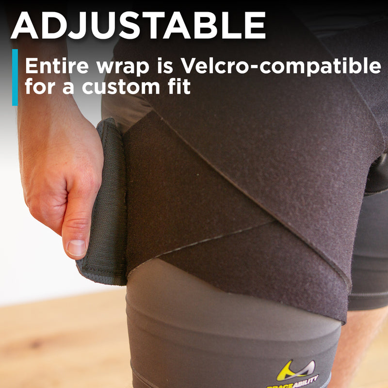 adjustable velcro hip strain wrap can be adjusted to any amount of compression