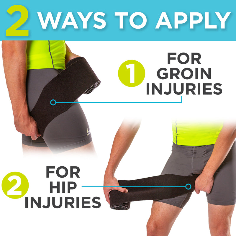 our one wrap can be worn for either hip or groin injuries