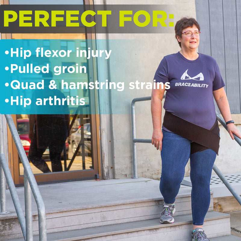 our pulled groin and hip arthritis wrap can be used for sports or old age