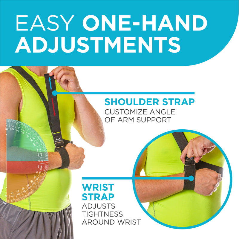 adjust the shoulder strap and wrist strap on the arm immobilizer with one hand