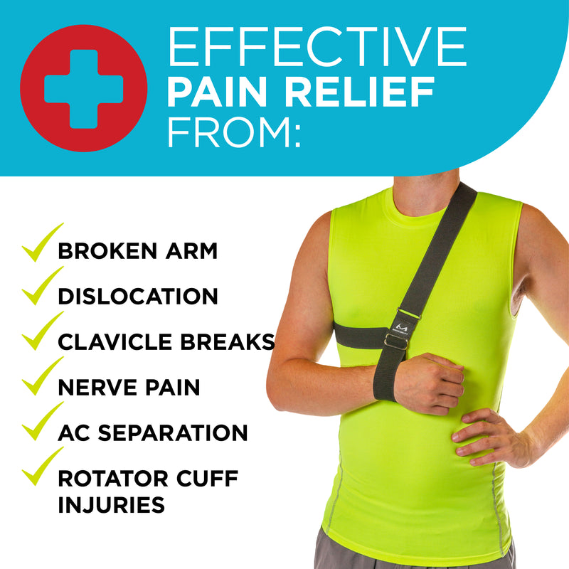 The Shoulder Sling is effective in relieving pain from shoulder dislocations, clavicle breaks, nerve injuries, broken arms, and more!