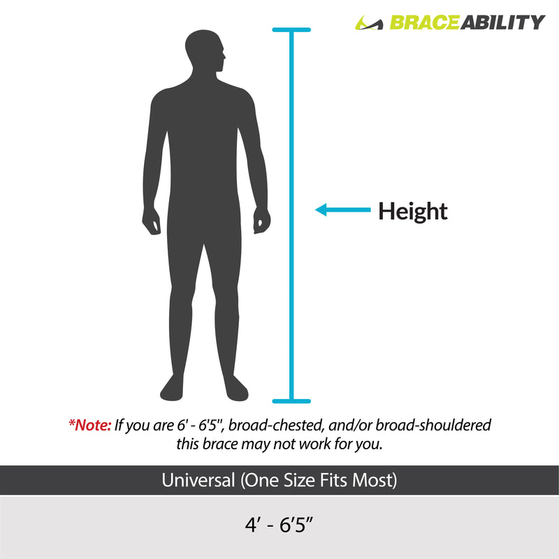 this sizing for the rotator cuff immobilizer is one size fits all for people from 4 foot tall to 6 foot 5