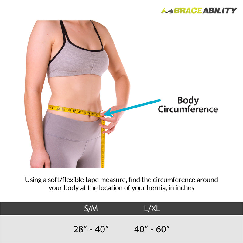 Sizing chart for abdominal hernia belt. Available is sizes S-L.