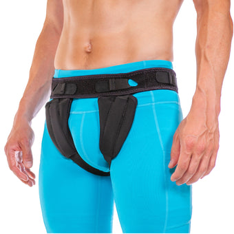 Men and women inguinal hernia truss belt for single or bilateral scrotal sports hernia treatment