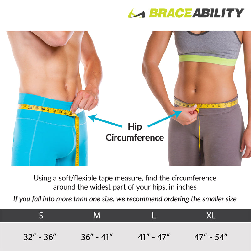 The inguinal hernia belt sizing chart comes in sizes s-xl fitting 32 inch to 54 inch hip circumferences