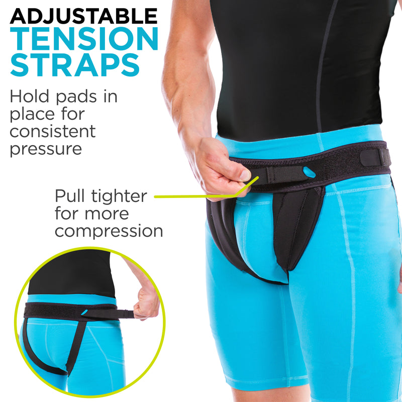 Adjustable tension straps can be pulled tighter for a greater level of groin support
