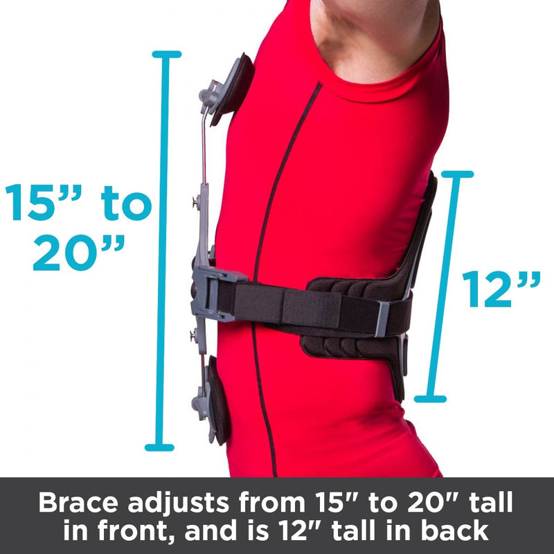 The brace adjusts from 15 inches to 20 inches tall in the front