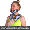 To put on the cervical spine immobilizer, the chin should sit on top of the u-shaped support with the chest plate centered on your collarbone