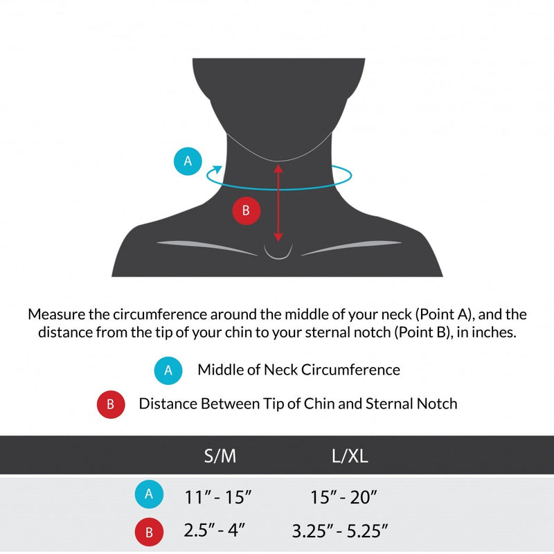 Sizing chart for cervical orthosis neck brace - measure the circumference around your neck. S/M fits 11
