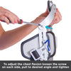 To adjust chest flexion, loosen screws on each side, pull to desired angle, and tighten