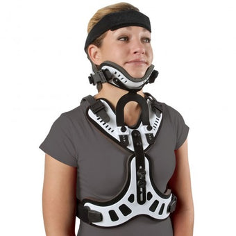 This Minerva brace for neck and upper back injuries stabilizes the spine