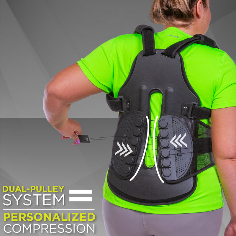 back straightener posture corrector has a mechanical advantage pulley system that compresses the spine