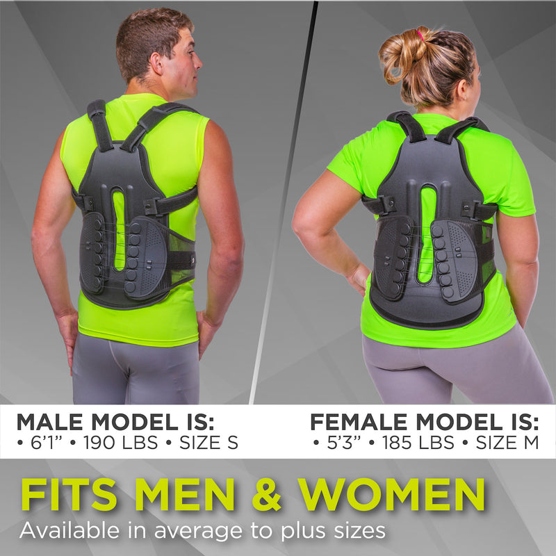 The model for the postural extension back vest is five foot four inches tall wearing a size s/m