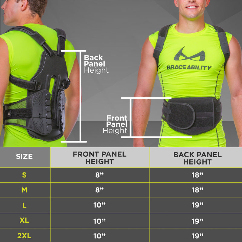 A 21 inch back panel and 7 inch front panel make the scoliosis back brace a comprehensive full back support