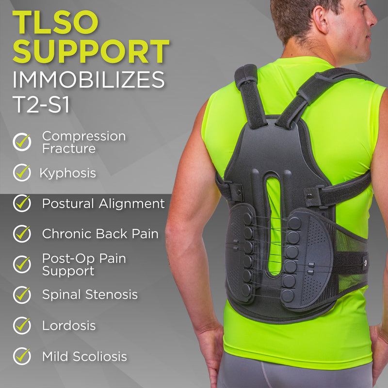 Scoliosis back brace to stabilize t2-s1 vertebrae from kyphosis or herniated discs