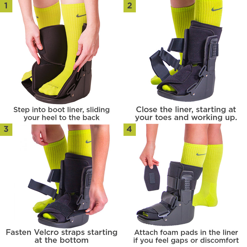 To apply this short fracture boot follow these 4-step instructions