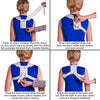 To apply this kids figure 8 clavicle sling follow these 4-step instructions