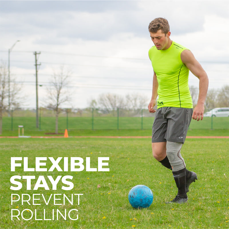 Flexible stays on the side of our athletic bamboo knee sleeve prevent rolling down