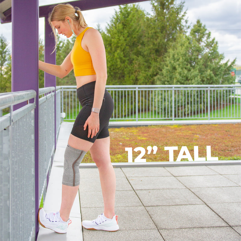 Our 12 inch tall sports knee brace is tall enough to help heal your leg but too tall that it reduces range of motion