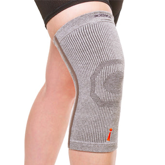 The incrediwear knee sleeve is an athletic bamboo brace to help provide sports pain relief