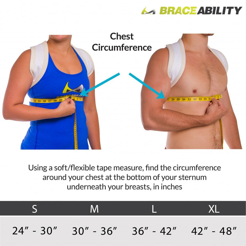 Sizing chart clavicle fracture sling for treating broken collar bones. Available in sizes S-XL.