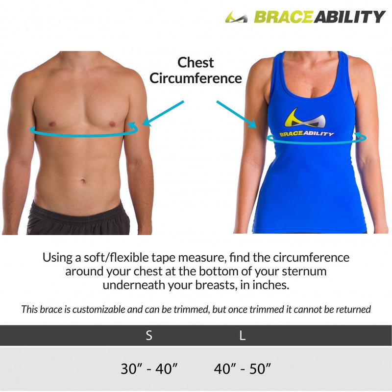 Sizing chart for back straightening brace. Available in sizes small and large.