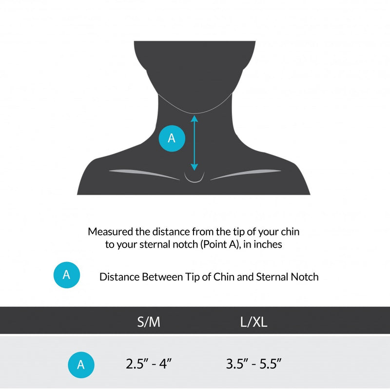 Sizing chart for cervical thoracic halo brace. Available in sizes S/M-L/XL.