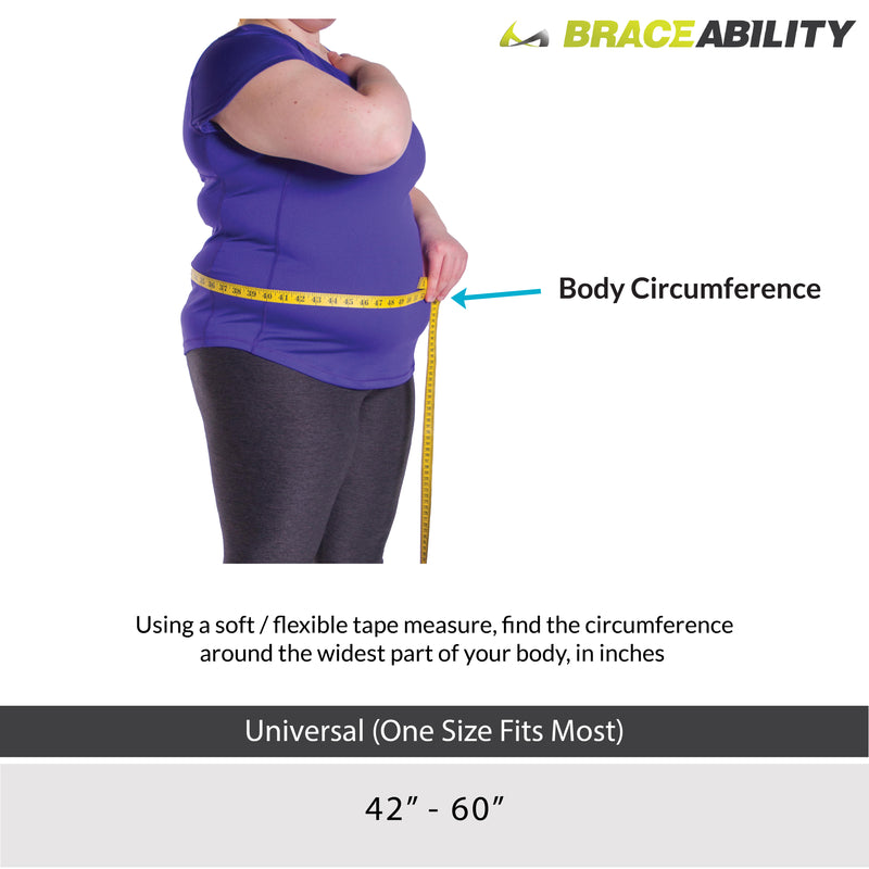 Sizing chart for obesity support belt - measure around your stomach at the widest part. One size fits up to 60