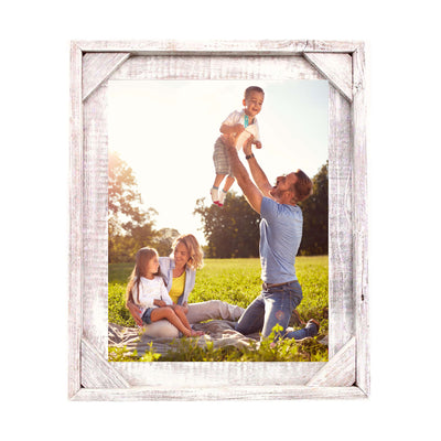 Rustic Farmhouse Signature Corner Block Picture Frame | White Wash