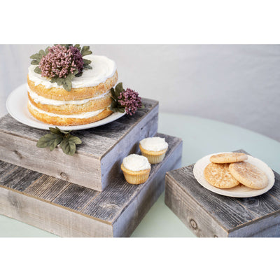 "Rustic Wooden Cake Stand | 15"" x 15"" 