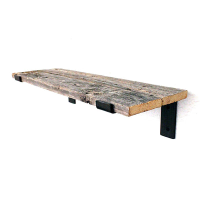 Rustic Industrial Wood Plank Shelf