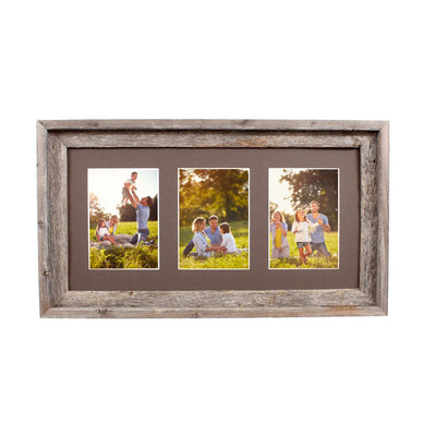 Rustic Signature Picture Frame with Multi Opening Weathered Wood Mat